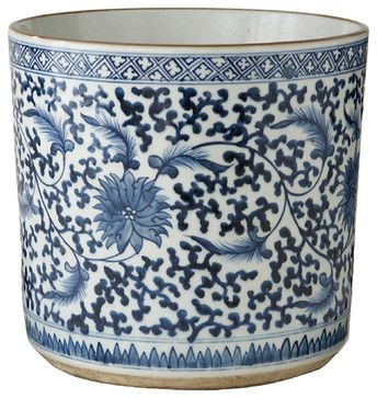 Asian Lotus Covered Blue White Hand Painted Porcelain Planter asian outdoor planters