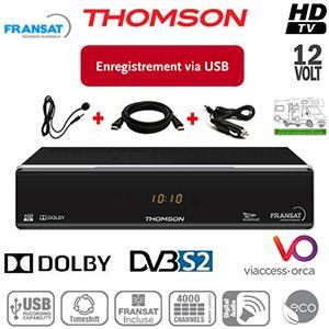 Pack THOMSON THS805 HD - 12Volts - PVR via USB - HDMI - Péritel - Terminal numérique HD avec carte Viaccess Fransat à vie sur Atlantic Bird 3 + Déport IR + cordon allume-cigare 12Volts + Cordon HDMI offert