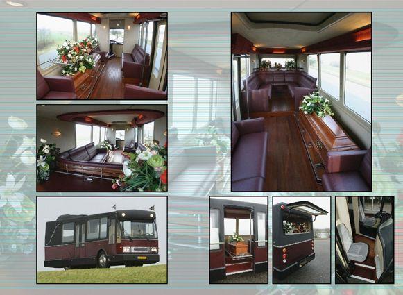 Uitvaartbus, foto van zowel de bus als het interieur. De overledene kan met 15 nabestaanden vervoerd worden.