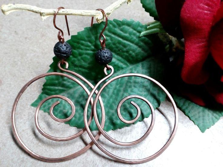 Σκουλαρίκια με χαλκό και λάβα