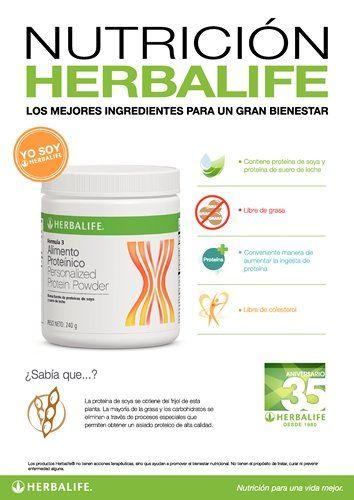 Afiche Nutrición Herbalife - Alimento Proteínico en Polvo. Contiene proteína de soya y proteína de suero de leche, libre de grasa, conveniente manera de aumentar la ingesta de proteína, libre de colesterol
