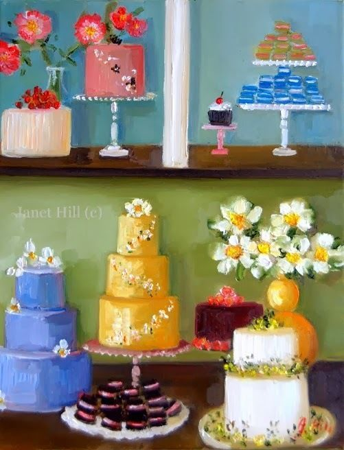 """""""Colossal Cakes"""" Original Oil Painting by Collected Artist Janet Hill 11""""x14"""" #Realism (for sale):"""