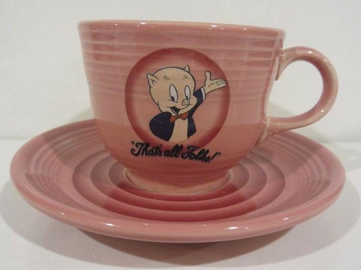 Fiesta Ware Looney Tunes ~ PORKY PIG ~ Pink ~ Cup & Saucer ~ Warner Bros 1994