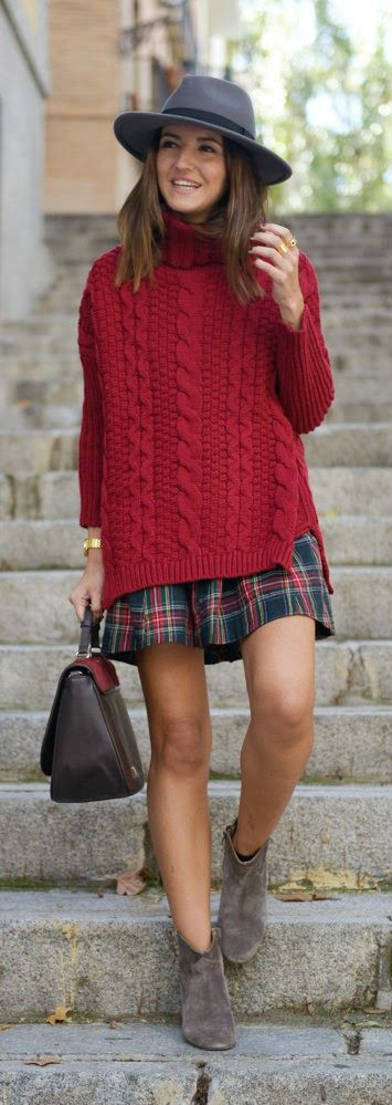 Burgundy sweater + plaid...: