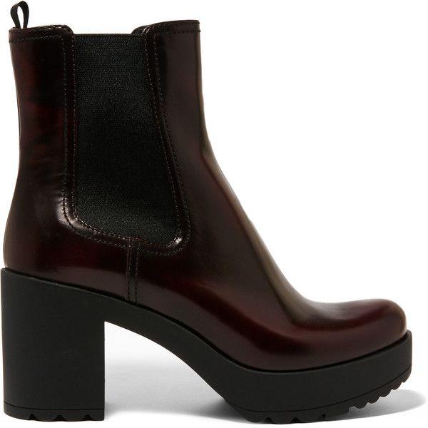 Prada Prada - Glossed-leather Platform Chelsea Boots - Burgundy (2.015 BRL) ❤ liked on Polyvore featuring shoes, boots, ankle booties, prada, short leather boots, bootie boots, platform chelsea boots, leather chelsea boots and leather bootie