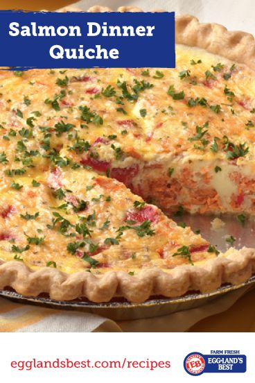Salmon Quiche | Rich, Creamy, Indulgent-Feeling | Only 211 Calories | Great way to get omega 3's & Vegetables | Cut Saturate Fat & Calories by using Fat-free Half & Half | From @egglandsbest   .client