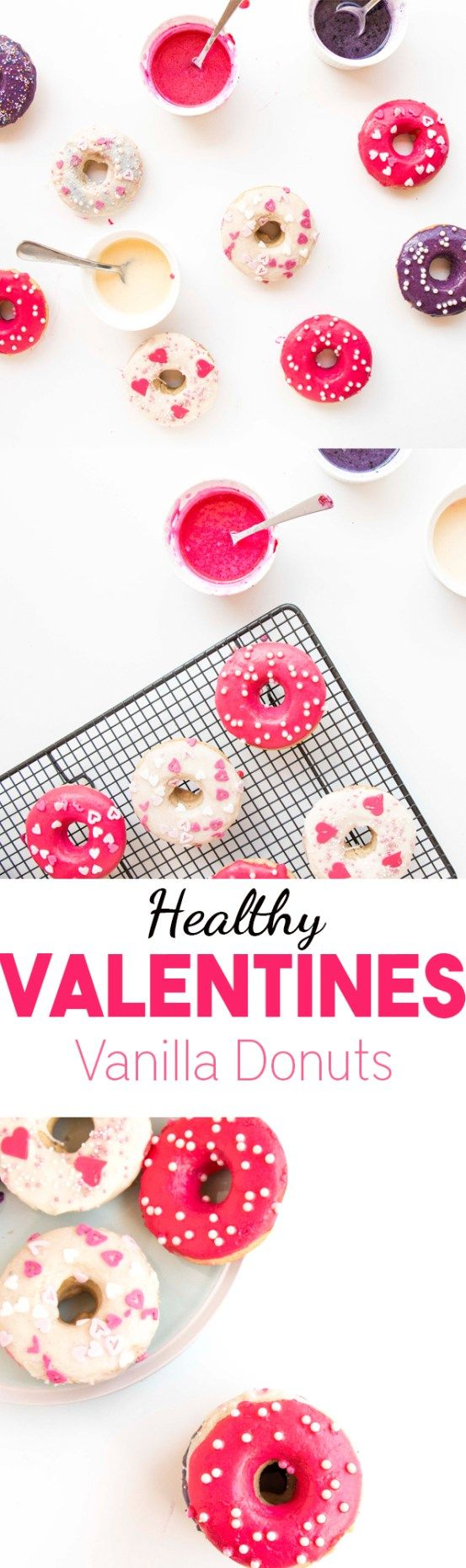 Healthy Valentines Vanilla Donuts. Vegan, low in fat and simply beautiful and delicious. Quick and easy to make baked donuts |