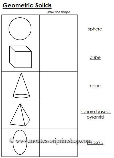 geometric solids worksheets montessori geometry materials geometric solids 3 dimensional. Black Bedroom Furniture Sets. Home Design Ideas