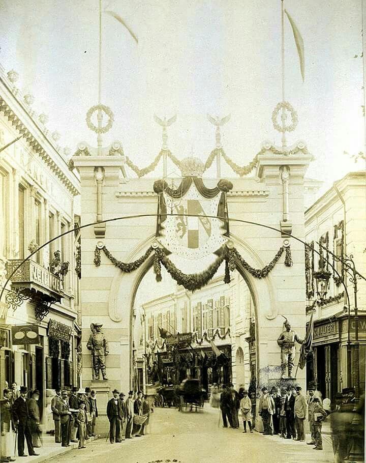Centrul Bucurestiului, fotografiat de Ioan Spirescu, cu ocazia vizitei întreprinse de Franz Joseph în Bucureşti, în septembrie 1896. Sursa imagini: Biblioteca Academiei Române