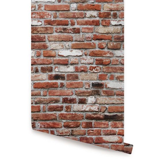 Red Brick Self Adhesive Fabric Wallpaper by AccentuWall on Etsy, $35.00 (Temporary wallpaper for dorm!)