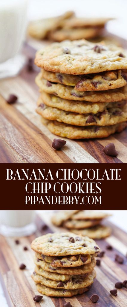 Banana Chocolate Chip Cookies   The perfect, most delicious way to use up ripe bananas!