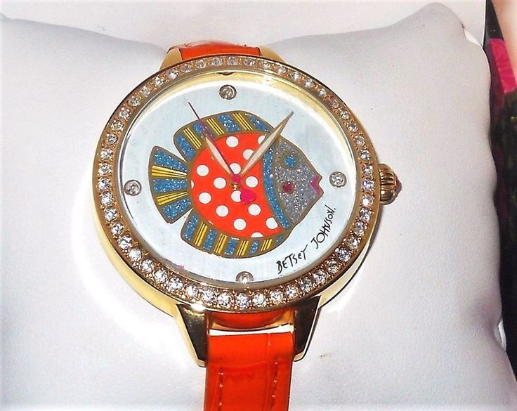 Betsey Johnson Crystal Fish Orange leather Strap WATCH USA SELLER #BetseyJohnson #Fashion