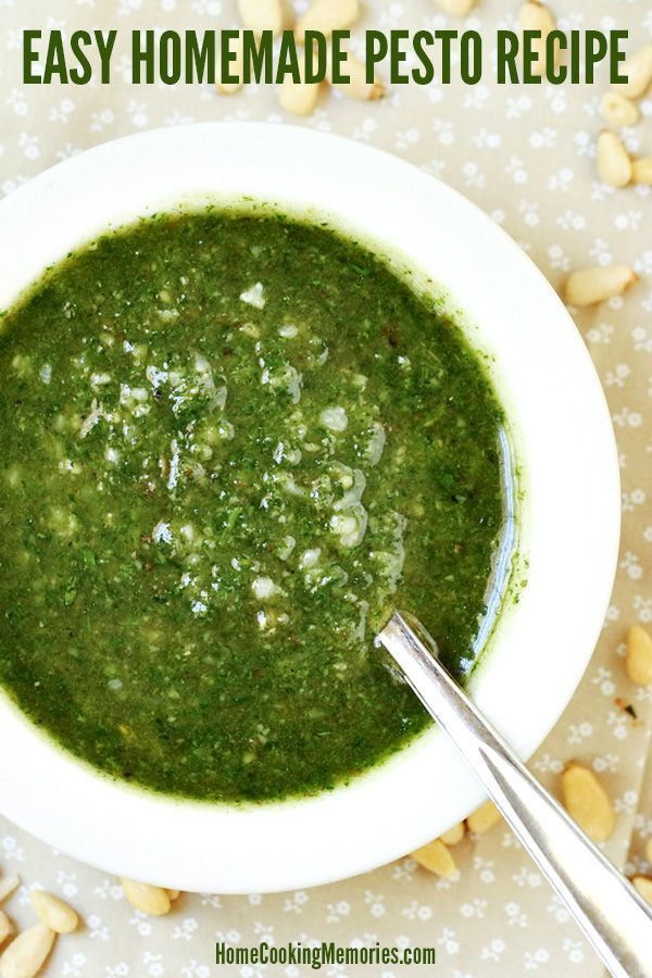 Making your own Homemade Pesto Sauce is easy! This basil pesto recipe is made simply in a blender or food processor. Use this delicious sauce with pasta, spaghetti squash, chicken, pizza, and more!