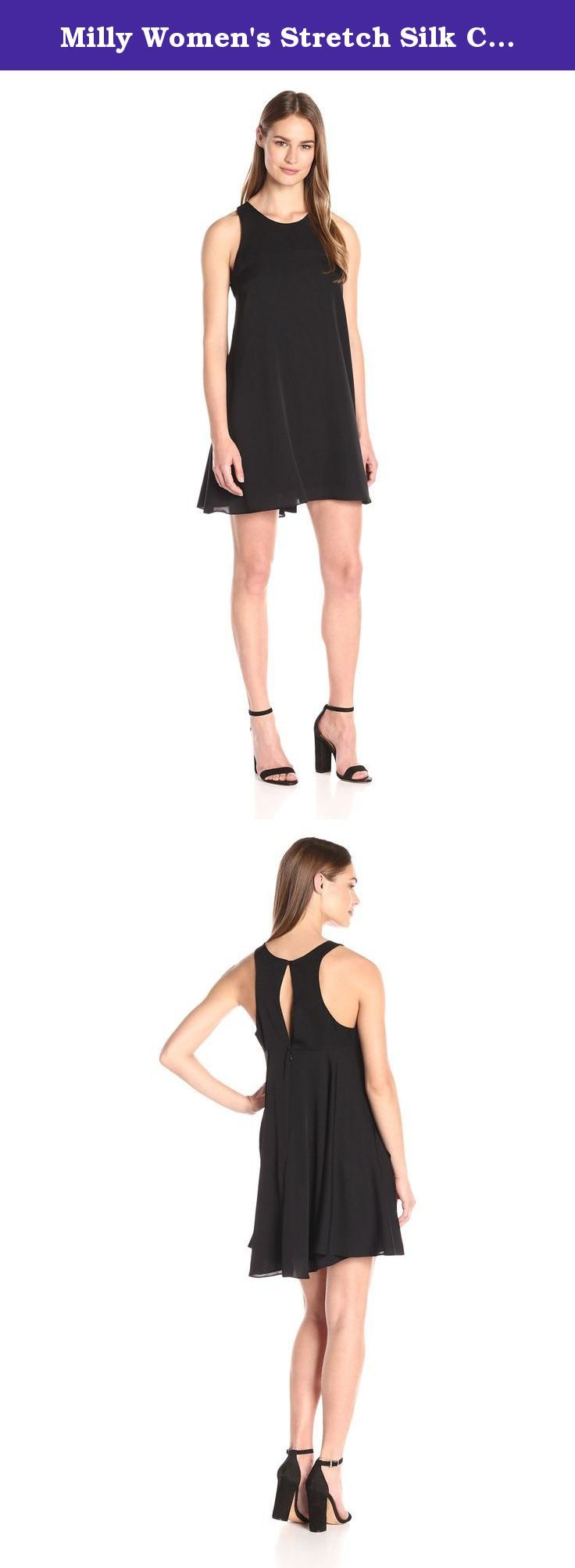 Milly Women's Stretch Silk Crepe Trapeze Dress, Black, 8. Trapeze dress in stretch silk crepe in black. Button at back neck.