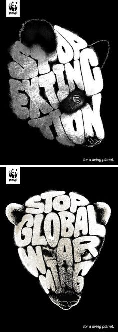 advertising set | WWF Advertising Campaign #beauty #typography #animals