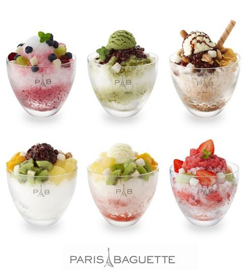 topped with ice cream or frozen yogurt, sweetened condensed milk, fruit syrups, various fruits such as strawberries, kiwifruit, and bananas, small pieces of tteok (rice cake), chewy jelly bits, and cereal flakes