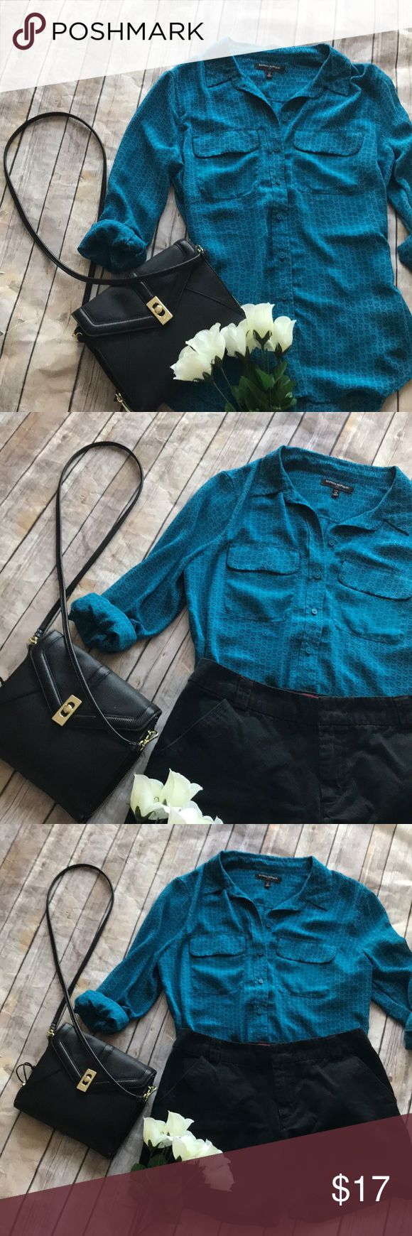 Banana republic blue heart button up sheet blouse This banana republic blue blouse has small black hearts as the pattern. Fully buttons up and is semi sheer. Has two front pockets and is slightly longer in the back. Offers welcome Banana Republic Tops Button Down Shirts