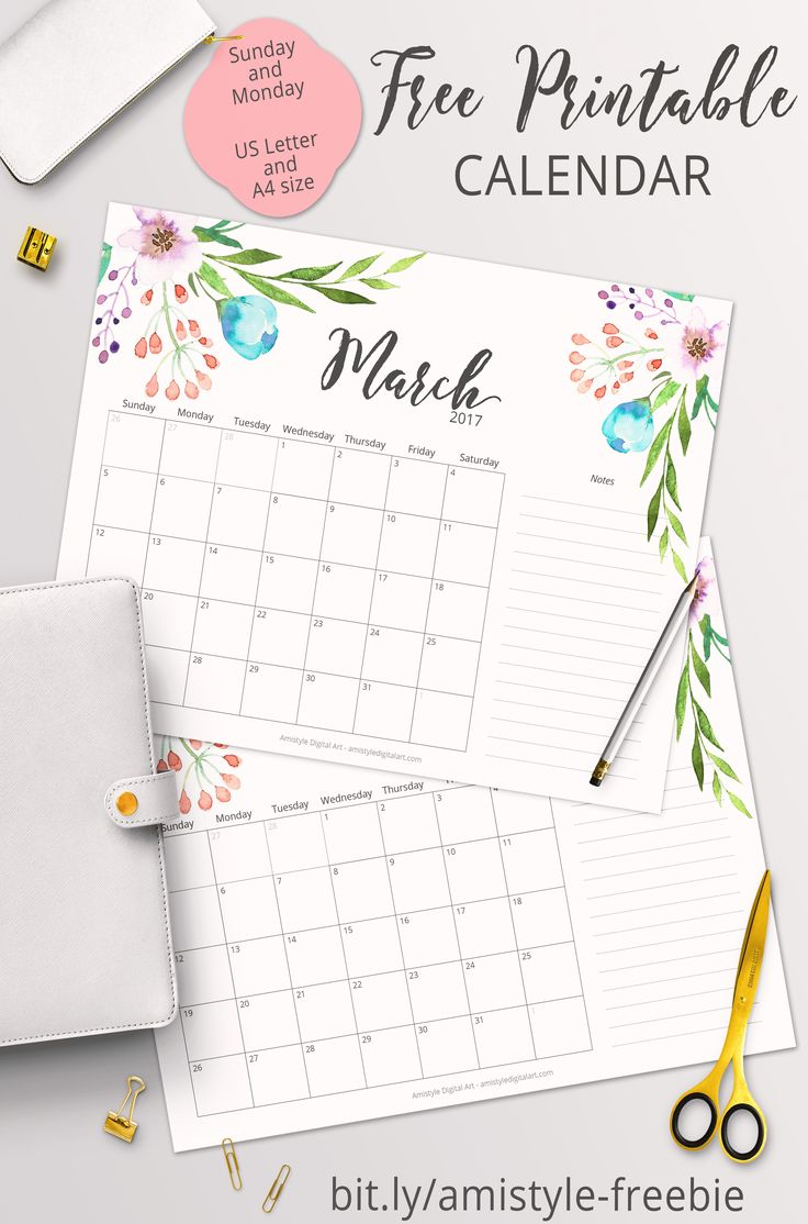 free printable planner 2017 march calendar with beautiful watercolor floral design