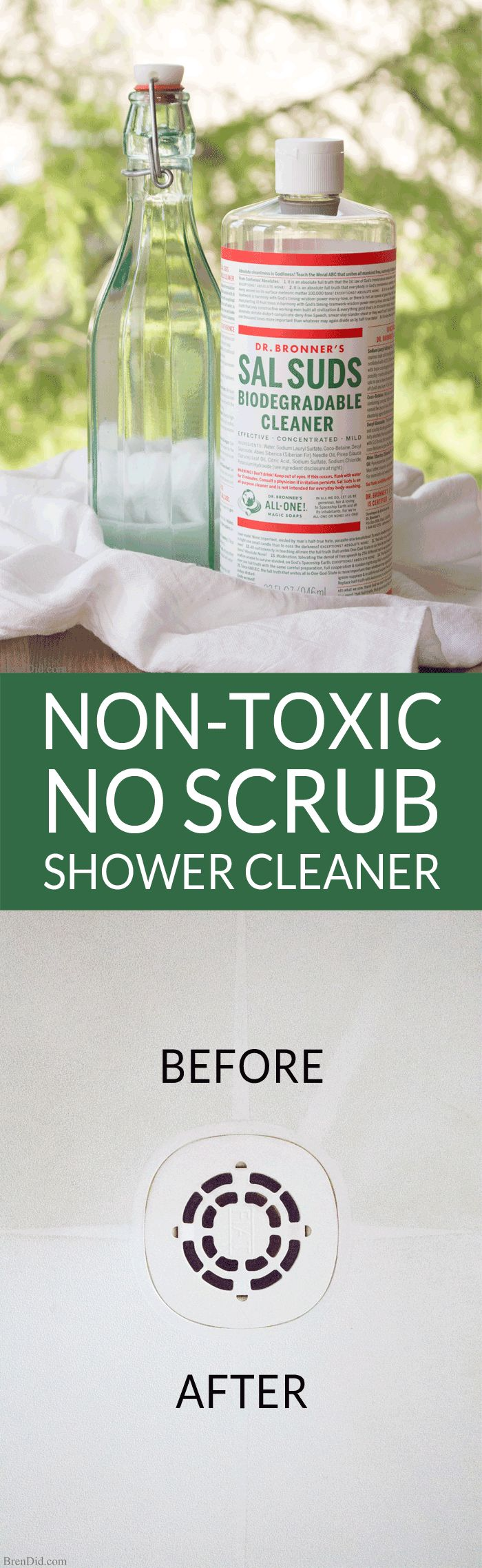 """Cleaning the bathroom is no fun. Non-Toxic No Scrub Shower Cleaner magically melts soap scum, tub rings, and shower buildup with only 2 natural ingredients. Use it to clean showers, tubs, sinks and toilets. It rates an """"A"""" on the Environmental Working Group (EWG) scale, so you can feel good about using it in your home."""