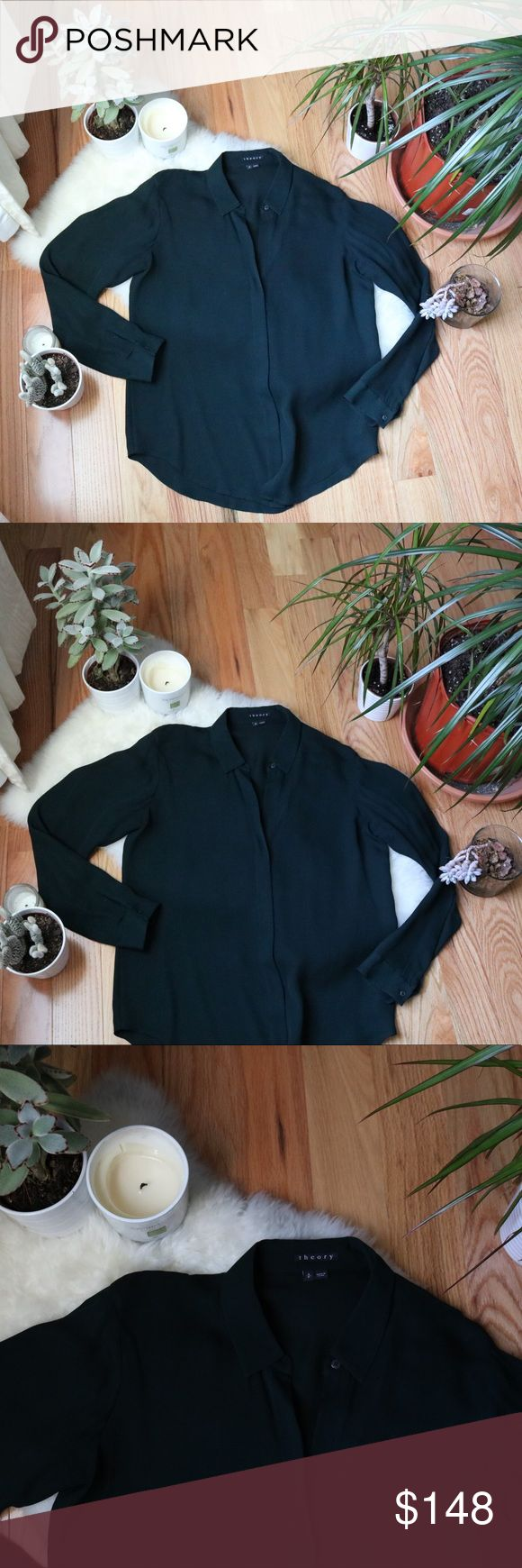 Theory Forest Green Silk Blouse 🌹 Insanely gorgeous and classy 100% silk blouse from Theory!! Features a hidden button down placket. 🌹 I style this with leather leggings and suede knee high boots. ❤️ there is a tiny stain on the sleeve as seen in the photos, price reflects this flaw :) Theory Tops Blouses