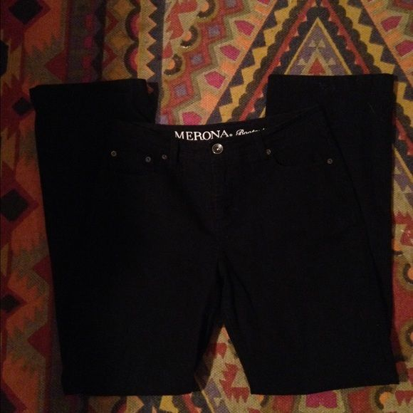 Black Bootcut Jeans Black Merona Bootcut Jeans. Gently used. Great pants for work. Merona Jeans Boot Cut
