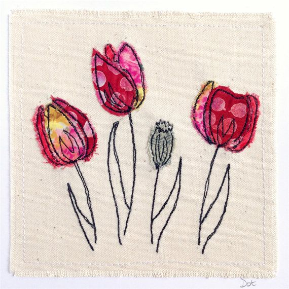 Tulips flower greeting card, personalised machine embroidered stitched fabric applique. Birthday, sympathy, blank.