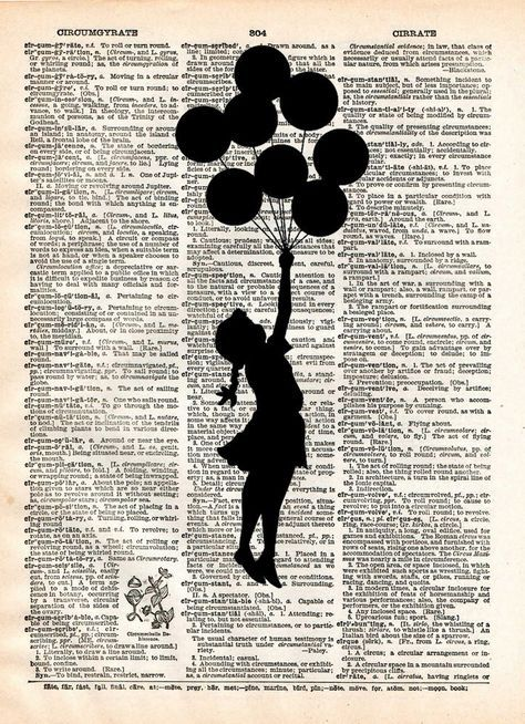 Banksy Girl with Balloons, street art, banksy print, vintage dictionary page book art print