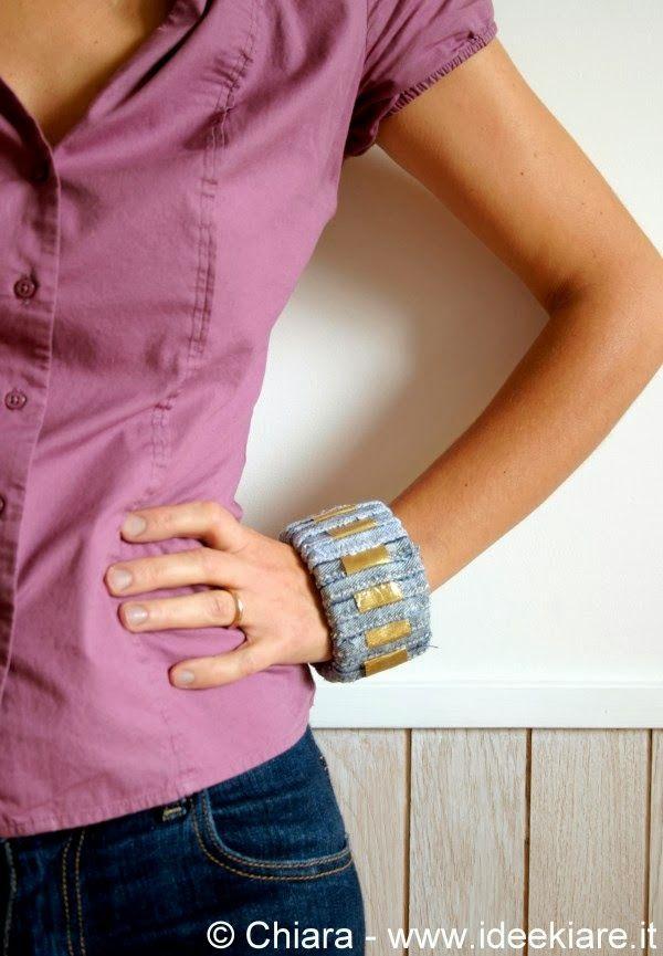 Riciclo jeans: come rivestire bracciale bangle - Tutorial in Italiano