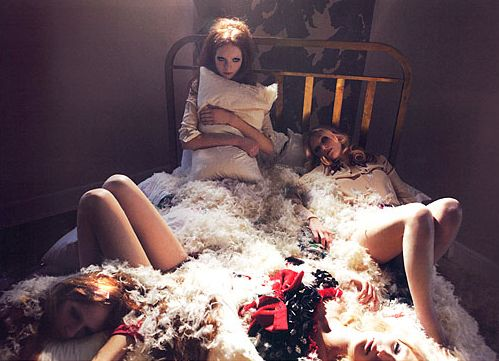 Sexualized Violence in Fashion (click thru for analysis): Dead Fashion, Girls, Fashion Photographers, Beds Beauty Love Romantic, April Fashion, Fashion Photography, Pillow Fight, Lula Editorial, Beautiful Photography