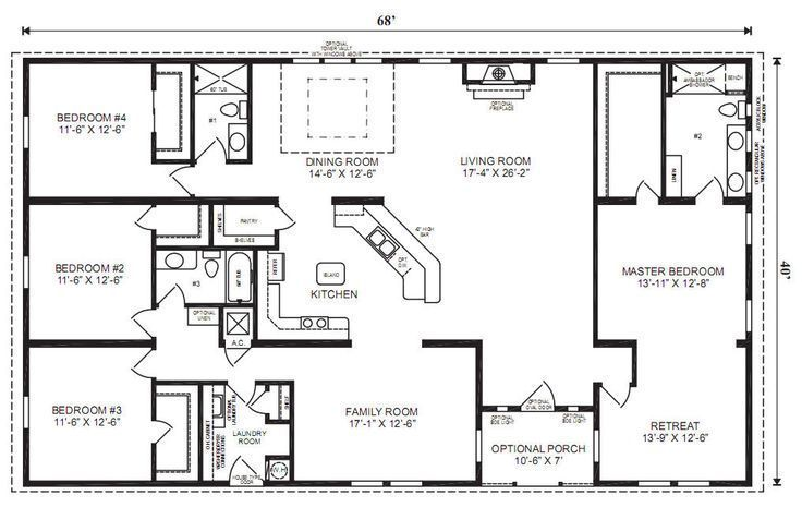 5 Bedroom 4 Bath Rectangle Floor Plan Google Search Make The Family Room An Office And Modular Home Floor Plans Ranch House Floor Plans Basement House Plans
