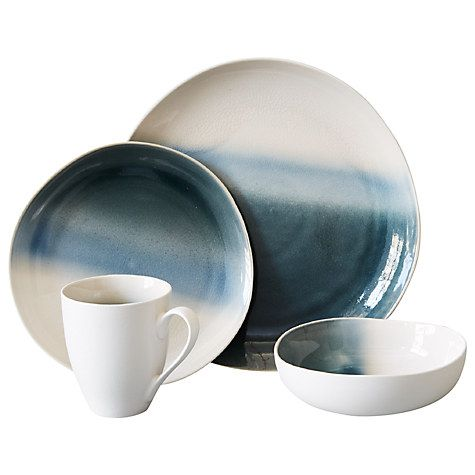 Buy west elm Ombre Crackle 22cm Side Plate, Grey / White Online at johnlewis.com
