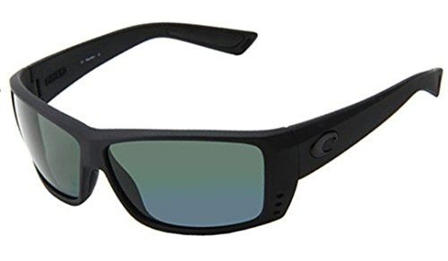 Costa Del Mar Sunglasses - Cat Cay- Glass / Frame: Blackout Lens: Polarized Green Mirror Wave 400 Glass