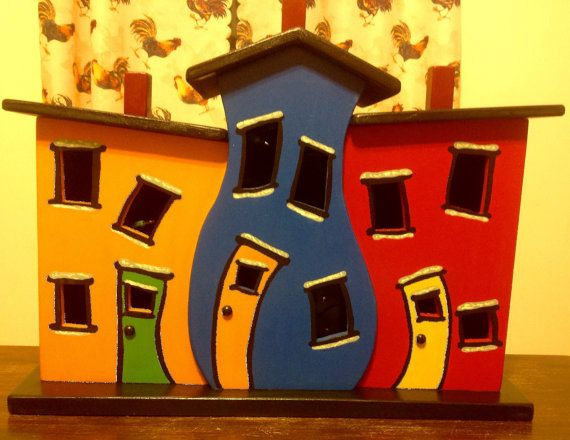 Topsy Turvy Jellybean Row House by OnceUponAPrim on Etsy