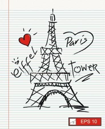 Amo a París, Torre Eiffel Vector De Stock