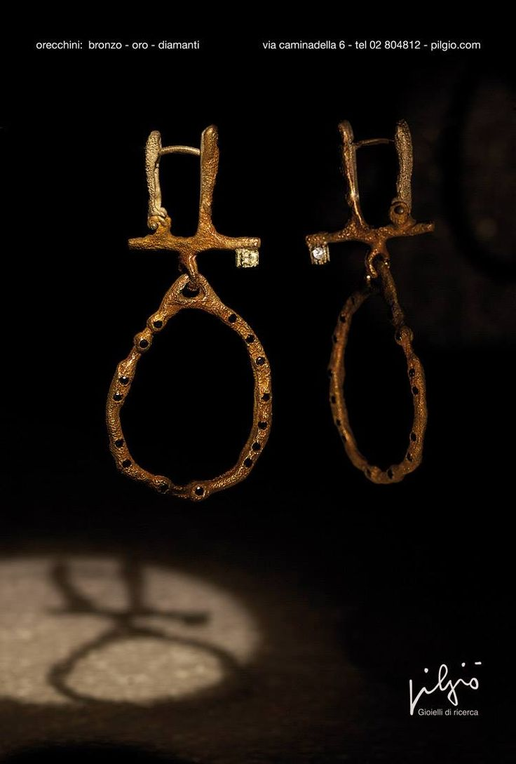 orecchini: bronzo - oro - diamanti - diamanti neri