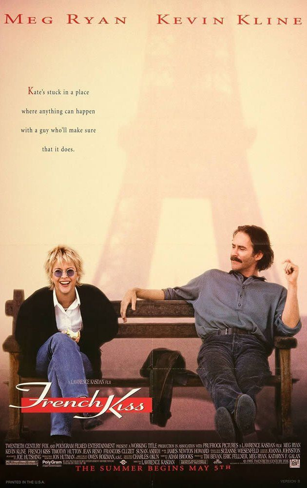 Directed by Lawrence Kasdan.  With Meg Ryan, Kevin Kline, Timothy Hutton, Jean Reno. A woman flies to France to confront her straying fiancé, but gets into trouble when the charming crook seated next to her uses her for smuggling.