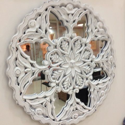 Circular mirror wall art! We love this traditional indian crafting on this masterpiece!  To purchase or enquire email us: info@handmadeworld.in or call us: +91 9899440144 (India)