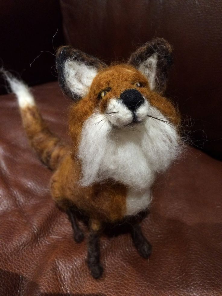 Needle Felted Red Fox, handmade, 12 X 7, gifts by artbythebeth on Etsy