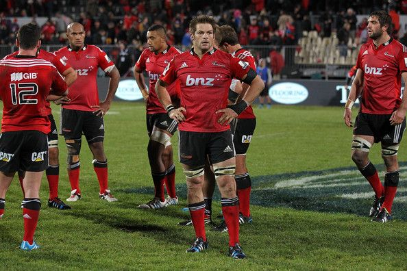Richie Mccaw Photos Photos - Richie McCaw (C) of the Crusaders reacts after the round 14 Super Rugby match between the Crusaders and the Sharks at AMI Stadium on May 17, 2014 in Christchurch, New Zealand. - Super Rugby Rd 14 - Crusaders v Sharks