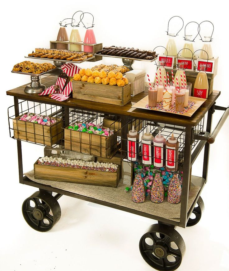 Wagon Cart Buffet ~ Cookies milk cart catering ideas pinterest