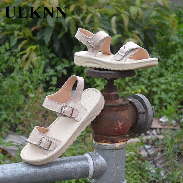 ULKNN Genuine leather women sandals cowhide casual shoes flat sandals Soft Lady Summer Shoes comfortable sandals slip-resistant