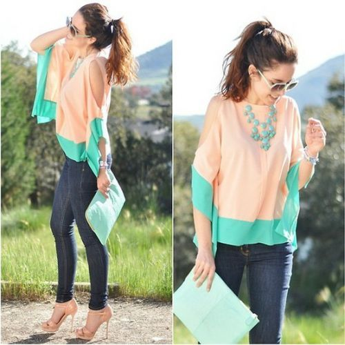 Color Matching Sleeveless Irregular Chiffon Shirt Pink - Sheinside.com #SheInside