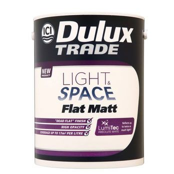 Dulux Decorator Centre. (n.d.). Dulux Trade Flat Matt Light & Space - Absolute White. [Online]. Available from: http://www.duluxdecoratorcentre.co.uk/servlet/ProductHandler?code=DDC10409 [Accessed: 2 June 2014] £43.34 inc VAT, 5L , 17m2 coverage