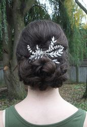 #Bridal and #bridesmaid #hairstyles by Allene Chomyn Hair Design.  Low #curls with hair #accessory.