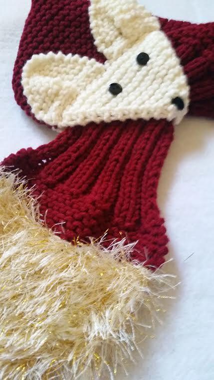 Regolabile Fox sciarpa a mano a maglia sciarpa / di QuiltNCrochet
