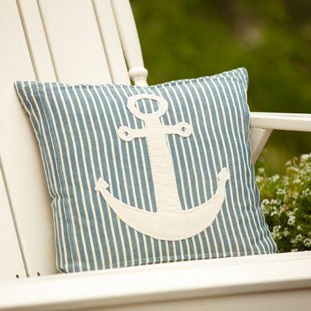 Montauk Stripe Anchor Pillow #nautical #blue #stripes