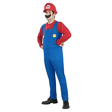 Super Mario Unisex Halloween Costume with Beard (for Height 168-180) – USD $ 16.99