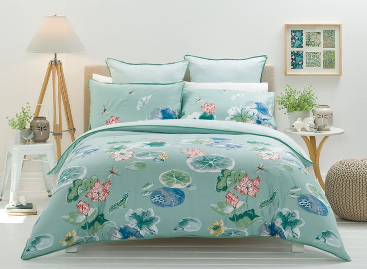 This dreamy design evokes an impressionistic watercolour; adding whimsical charm to any bedroom #bedbathntable