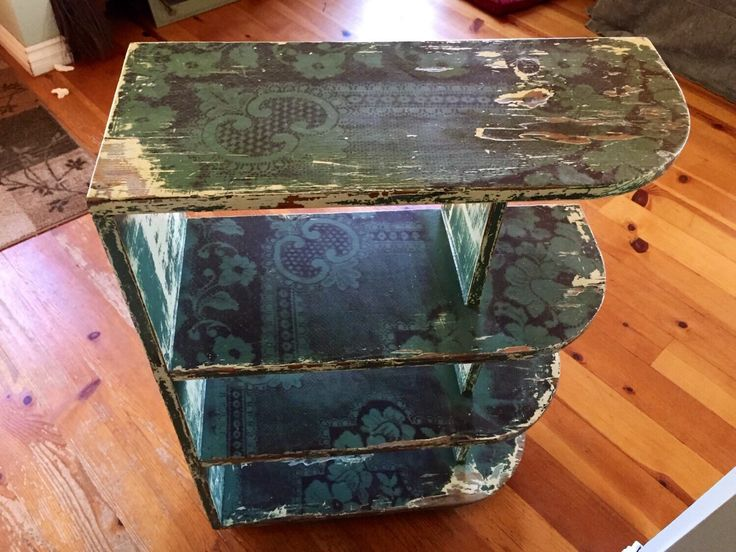 Chippy Paint Bookcase, shabby chic green bookshelf w/ brown, antique floral paisly pattern, distressed vintage bookcase, french country by ReincarnatedwithLove on Etsy https://www.etsy.com/listing/207922682/chippy-paint-bookcase-shabby-chic-green