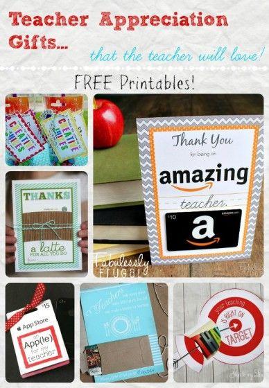Fabulessly Frugal: Teacher Appreciation Gift Cards! - Free printables for cute teacher appreciation gift card ideas!